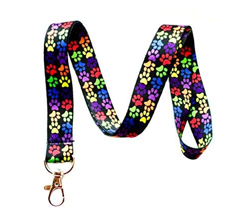 (Rainbow Paw Print Lanyard Key Chain Id Badge)