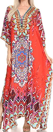 Sakkas SS1683 KF2020943LAT - LongKaftan Georgettina Ligthweight Printed Long Caftan Dress/Cover Up - Red/Blue -OS