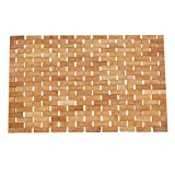 Luxury Roll-Up Bamboo Wood Bath Shower Spa Sauna Mat(28x18x0.2inches)