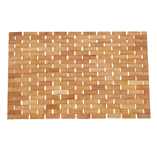 Luxury Roll-Up Bamboo Wood Bath Shower Spa Sauna Mat(28x16x0.2inches) (Mat Bath Wood)