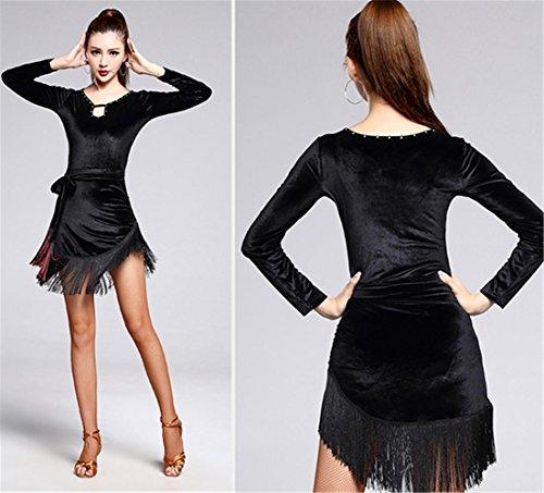 flanelle à manches longues d'hiver robe de danse latine / gland noir vêtements de danse