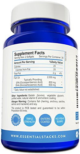 Burpless fish oil omega 3 triple strength 1400mg epa for Enteric coated fish oil