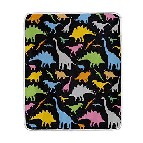 ZZKKO Colorful Cute Animal Dinosaur Blanket Throw Warmer for Kids Baby Boy Girl Home Decorative Couch Soft Bed Living Room Nap Mat Outdoor Travel