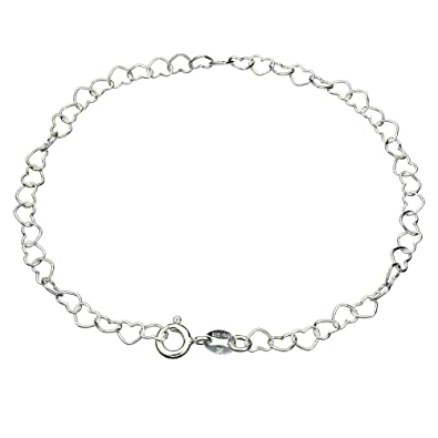 da9e776b9990 Sterling Silver Heart Link Nickel Free Chain Anklet Italy Adjustable