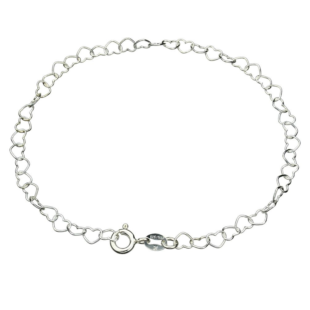 Sterling Silver Heart Link Nickel Free Chain Anklet Italy Adjustable, 11''