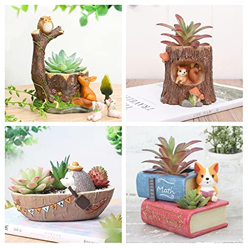Made in India-Brotherhood Enterprise Resin Pot Pack of 4 Owl Tree|Puppy with Book|Boat|Tree Shape Resin Pot Design Resin Succulent Pots Resin Planter Succulent Pot Succulent Indoor and Outdoor Pot
