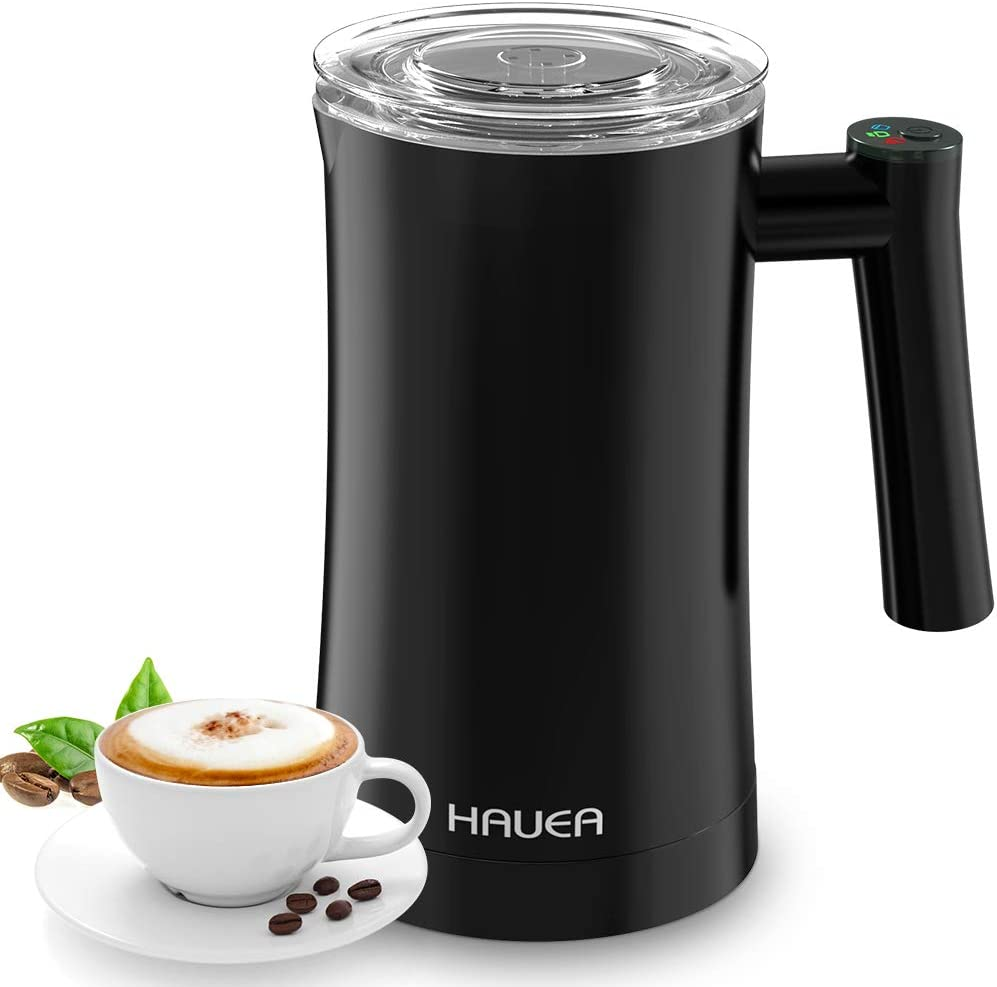 HAUEA Milk Frother, Electric Milk Steamer for Hot and Cold Milk Froth 3 in 1 Automatic Foam Maker, Stainless Steel Milk Frother for Cappuccino,Latte,Hot Chocolate,Non-Stick Interior Milk Warmer with Extra Whisks