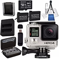 GoPro HERO4 Black + Rechargeable Battery + Dual Battery Charger + Sony 64GB microSDXC + Case for GoPro HERO4 and GoPro Accessories + Card Reader + Memory Card Wallet Bundle