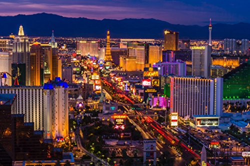 Las Vegas Strip at Twilight Photo Art Print Poster 18x12 inch