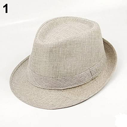 774a35921ee Holrea Unisex Vintage Fedoras Linen Hat Summer Beach Short Brim Sun Hat  Neutral Jazz hat Travel