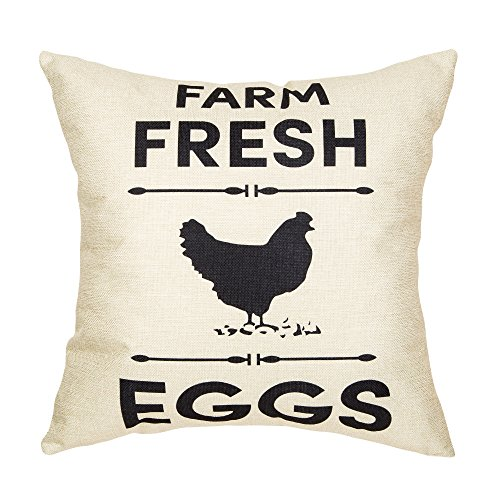 Hen Egg (Fahrendom Rustic Farm Fresh Eggs Hen Vintage Country Style Retro Farmhouse Quote Gift Cotton Linen Home Decorative Throw Pillow Case Cushion Cover with Words for Sofa Couch 18 x 18 Inch)