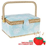 SewKit | Medium Sewing Basket Organizer with Complete Sewing Kit Accessories Included | Wooden Sewing Basket Kit with Removable Tray and Tomato Pincushion for Sewing Mending | Light Blue | 220.10