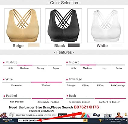 Cabales Womens Racerback Cross Straps Sports Bra with Removable Pads 3 Pack or 1 Pack for Chose
