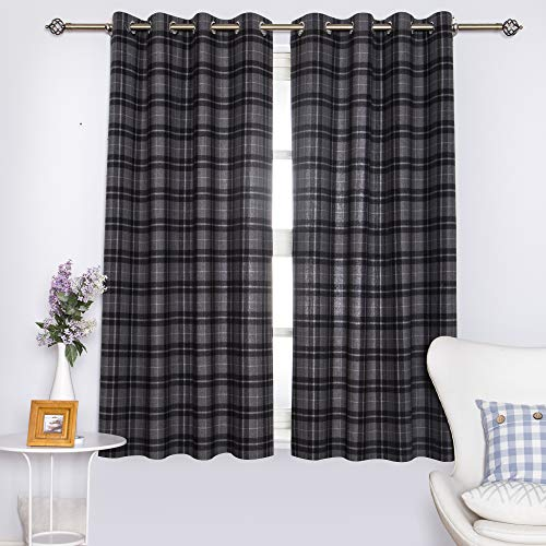 DOLLMEXX Plaid Curtains, Lumberjack Fashion Buffalo Style Checks Pattern Retro Style with Grid Composition, Living Room Bedroom Window Drapes(2 Panels, 52