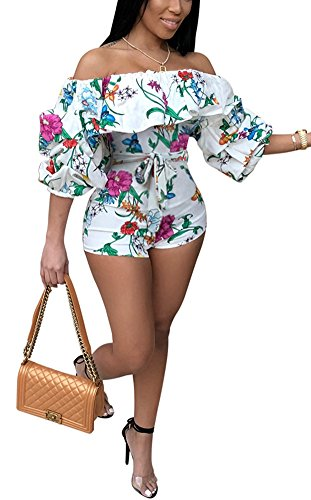 Deloreva Women Sexy One Piece Romper Outfits Pull Sleeve Floral Print Off Shoulder Short Jumpsuit Pants Set White S
