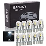 BAOLICY T10 Led Bulb White, W5W 168 194 Led Bulb, 3030 Chip 3-SMD Replacement for Car Interior Dome Map Reading Door License Plate Turn Signal Trunk Light(10PCS)