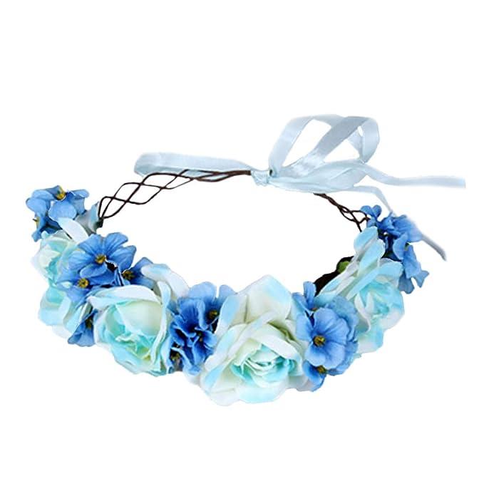 Floral Garland Crown Hair Wreath Flower Headband Halo Floral Headpiece Boho with Ribbon Wedding Party
