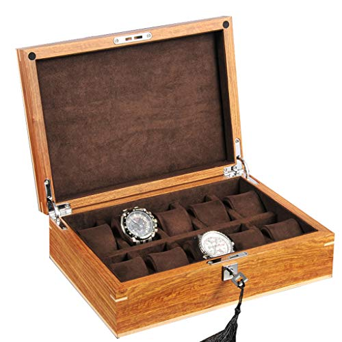 Watch Box Wooden 10 Slots Watch Jewelry Display Storage Case Lockable Metal Lock Showcase Organiser for Men Women