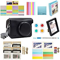 Katia Instax Wide 300 Camera Accessories Bundles Set for Fujifilm Instant Film Camera (with Camera Case/ Album/ Frames/ Stickers/ Pen/ Filter/ Cleaning Cloth) and More - Black