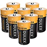 DULEX CR123A Rechargeable Batteries, 8 Pack 700mAH 16340 RCR123A 3.7V Lithium ion Camera Batteries for Arlo Wireless Security Cameras