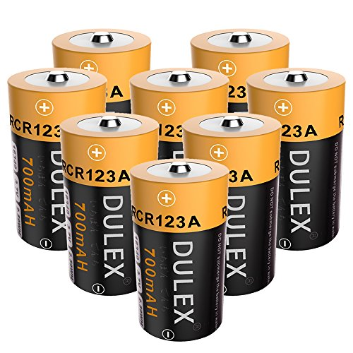 DULEX CR123A Rechargeable Batteries, 8 Pack 700mAH 16340 RCR123A 3.7V Lithium ion Camera Batteries for Arlo Wireless Security Cameras by DULEX