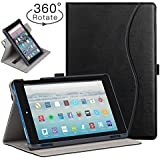 Ztotop Folio Case for Amazon Fire HD 8 Tablet (8th/7th Generation,2018 and 2017 Release) - Smart 360 Degree Rotating Leather Cover Slim Folio Multi-Angle Viewing Stand Case with Auto Wake/Sleep, Black