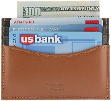 Viosi RFID Blocking Minimalist Genuine Leather Slim Front Pocket Wallet