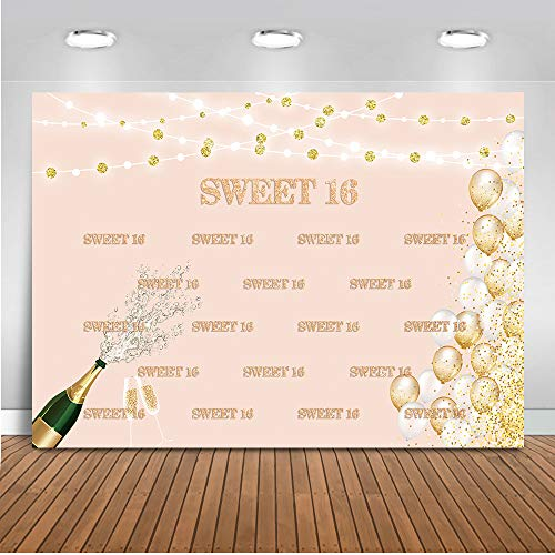 Mehofoto Sweet 16 Backdrop Girls 16th Birthday Photography Background 7x5ft Vinyl Balloons Champagne 16th Birthday Party Banner -