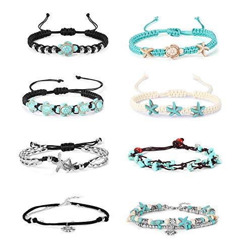 (Finrezio 8PCS Anklets for Women Girls Adjustable Boho Turtle Starfish Beac Ankle Bracelets Foot Jewelry Set Handmade)