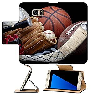 Luxlady Premium Samsung Galaxy S7 EDGE Flip Pu Leather Wallet Case IMAGE ID 6832161 Close up shot of old soccer ball basketball baseball football bat hockey stick baseball glove and cleats