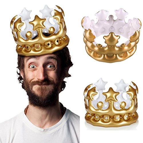 Yeefant 1Pcs Inflatable Hats Cap Crown Prince Princess Balloon Birthday Party Gold Decorative Event Banquet Favors Signs Pure Bunting Hanging Set for Living Room Bedroom, 6x8 Inch