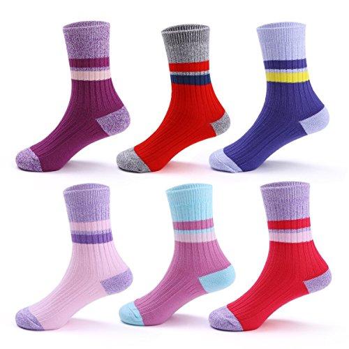 Girls Seamless Crew Socks Kids Cotton Ankle Socks 6 Pack
