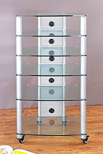 NGR Series Silver Framed Audio Video Rack w Clear Glass Shelves