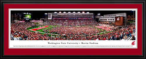 Washington State Cougars Framed - Washington State Cougars Football - Double Mat, Deluxe Framed Print by Blakeway Panoramas