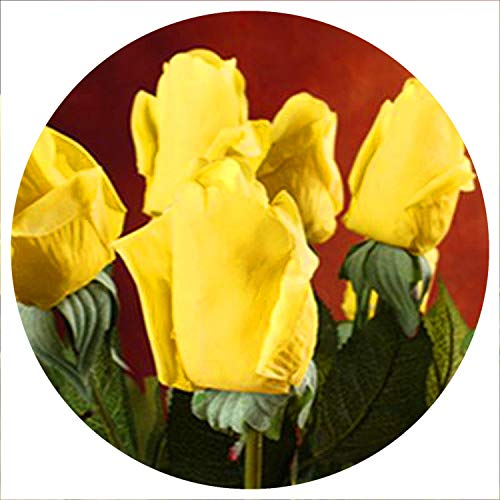 Baby hunter station 20 Pcs/lot Artificial Flowers Latex Rose for a Wedding Home Party Decoration Real Touch Christmas Flower,Yellow 4 ()