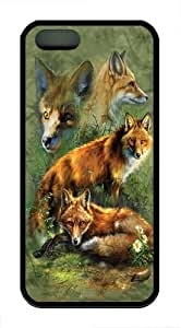 Children's Red Fox Collage TPU Silicone Case Cover for iphone 6 Black by supermalls