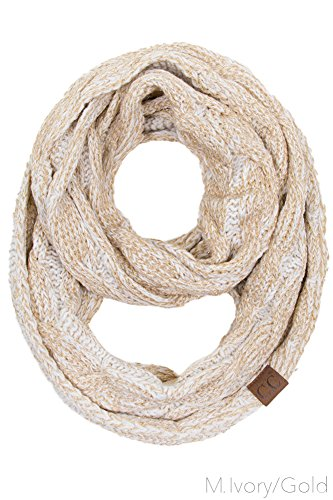 ashion Knitted Weaved Infinity Loop Scarf (Metallic Ivory Gold) ()