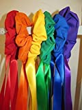 Bear Paw Creek Set of 6 Fabric Wrist Scrunchie with 24'' Ribbon Streamers in primary colors with storage bag, Creative Movement Prop for dancing, group activities. Direct from USA manufacturer
