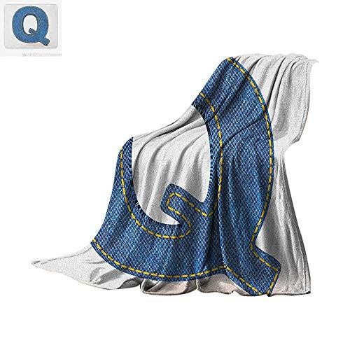 (Letter Q Super Soft Lightweight Blanket Conceptual Font Design with Denim Fabric Texture Image Shape of Capital Letter Q Custom Design Cozy Flannel Blanket 60