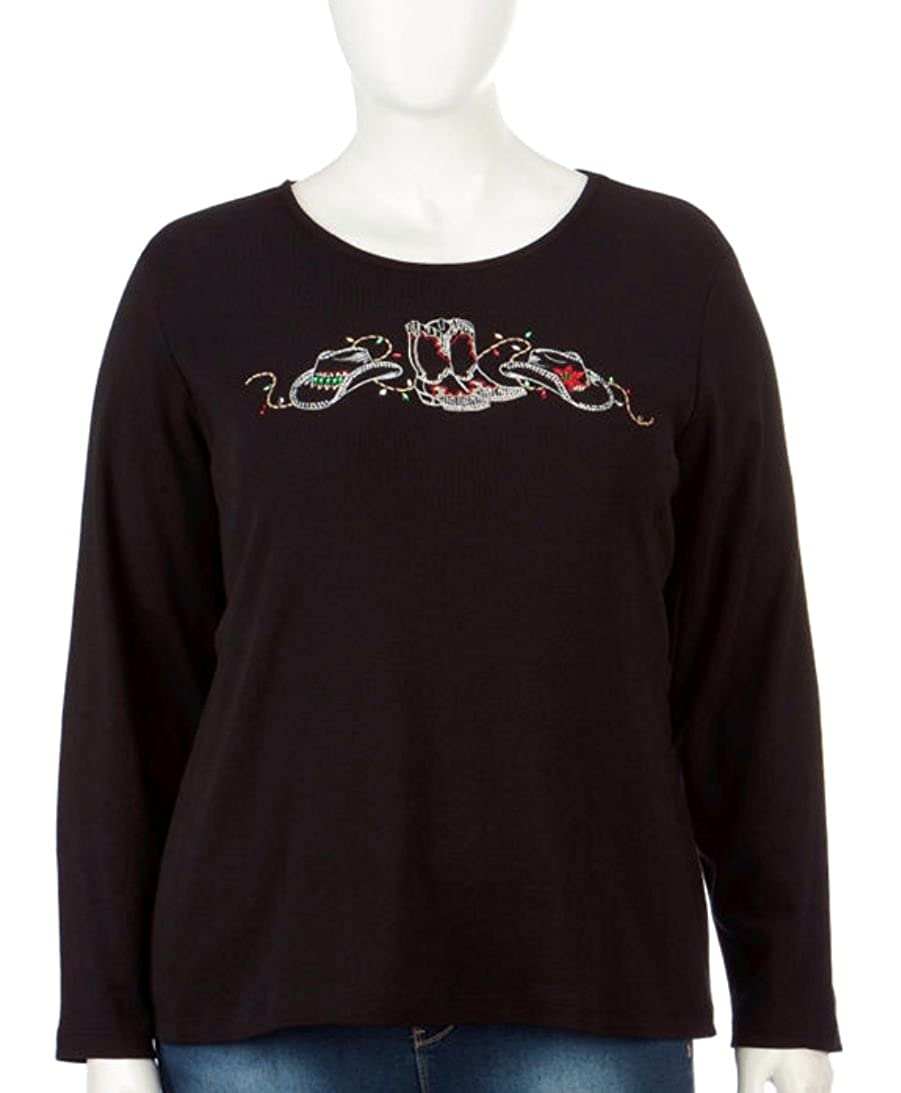 36273cac084 Rebecca Malone Women s Plus Size Country Holiday Embellished Long Sleeve Top  Deep Black at Amazon Women s Clothing store