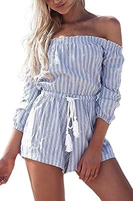 Simplee Apparel Women's Summer Casual Off Shoulder Long Sleeve Strip Playsuit Short Jumpsuit Romper