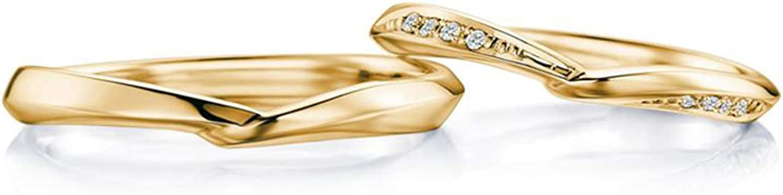 Epinki Anillo Or 18k Clásico Retorcido Diamante 0.05ct Anillo Clásico de Boda Compromiso