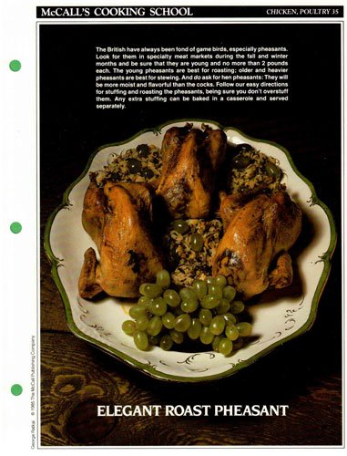 McCall's Cooking School Recipe Card: Chicken, Poultry 35 - Roast Pheasant And Wild-Rice Casserole (Replacement McCall's Recipage or Recipe Card For 3-Ring Binders)