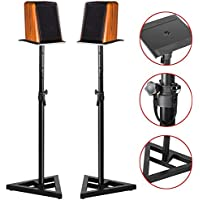 Yaheetech 31.5''-51.2'' PA DJ Club 2 Pcs Adjustable Monitor Metal Set Satellite Stands Height Triangle Pair