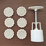 Plastic 7Pcs/Set Mooncake Mold Press 6 Flower Round Shape Stamps Plunger Kitchen Accessories DIY Pastry Cake Decorating Tools Katoot
