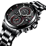 Mens Watches,Elegant Business Style Casual Sport Wrist Watch With Calendar Multifunctional Stainless Steel Chronograph Watch