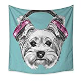 Yorkie Dorm Room Tapestry Dog with Headphones Music Listening Yorkshire Terrier Hand Drawn Caricature Floral Wall Tapestry Light Blue White 70W x 70L Inch