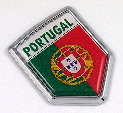 Portugal Portuguese Flag Car Chrome Emblem 3D Decal ()