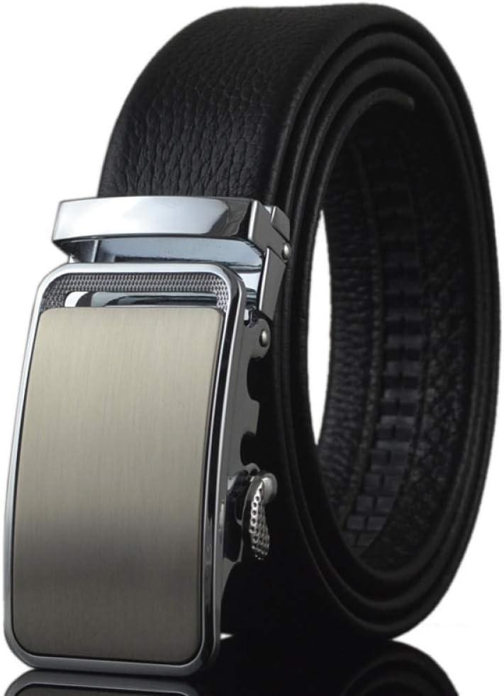 DENGDAI Mens Automatic Buckle Belt Leather Belt Length of Mens Belt 100-135cm
