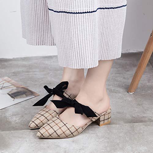 Zeppa Donna A Tacco Farfalla Singole Beige Scarpe Nodo Punta Eleganti Zarupeng Aperta Con Medio E Alto Pantofole Estive Quadretti Sandali 60qwY7q5